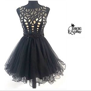 DANCING QUEEN Black Prom Cocktail flare Dress XS